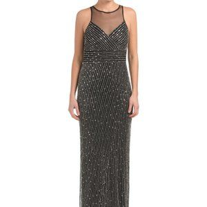 NEW Adrianna Papell Beaded Halter Gown